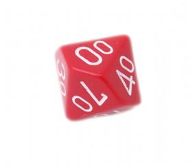 Dé 00 à 90 en plastique rouge