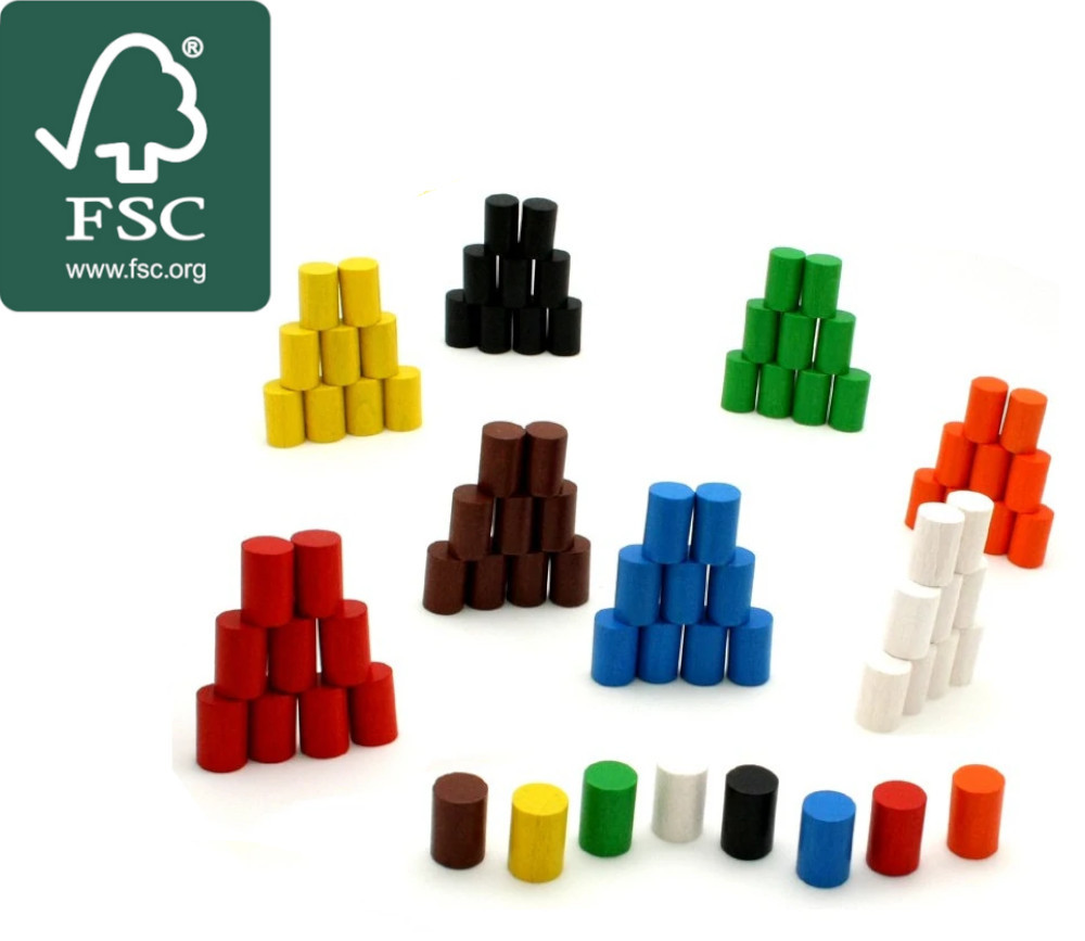 Mini cylindre 10x15 mm en bois certifié FSC coloré pour jeu unité