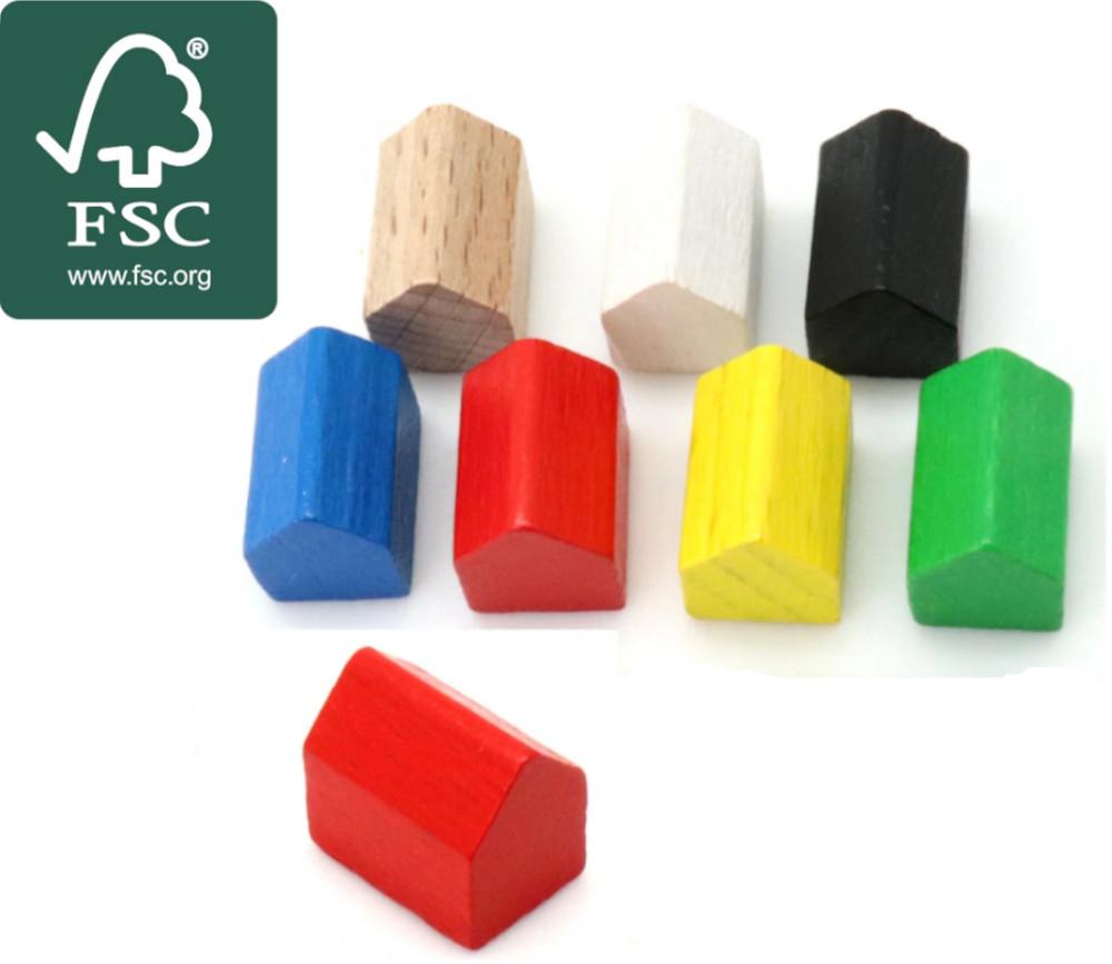 Pion maison bois certifié FSC style monopoly 14x10x12 mm à l'unité