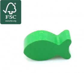 Pion poisson vert en bois certifié FSC 24 x 13 x 8 mm pour jeu