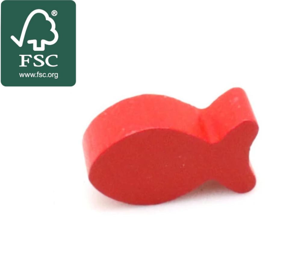 Pion poisson rouge en bois certifié FSC 24 x 13 x 8 mm pour jeu