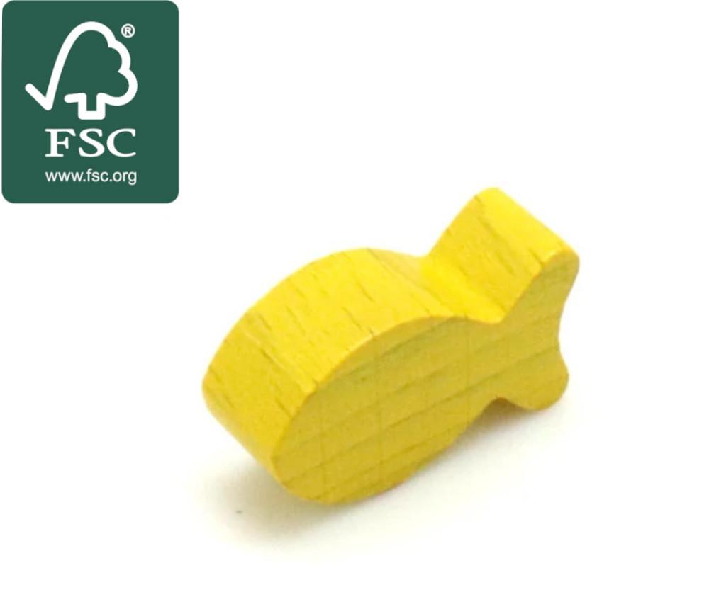 Pion poisson jaune en bois certifié FSC 24 x 13 x 8 mm pour jeu