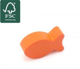 Pion poisson orange en bois certifié FSC 24 x 13 x 8 mm pour jeu