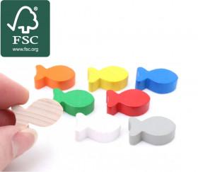 8 pions petits poissons en bois certifié FSC multicolores pour jeu 24 x 13 x 8 mm