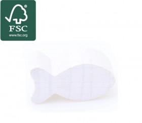 Pion poisson blanc en bois certifié FSC 24 x 13 mm pour jeu