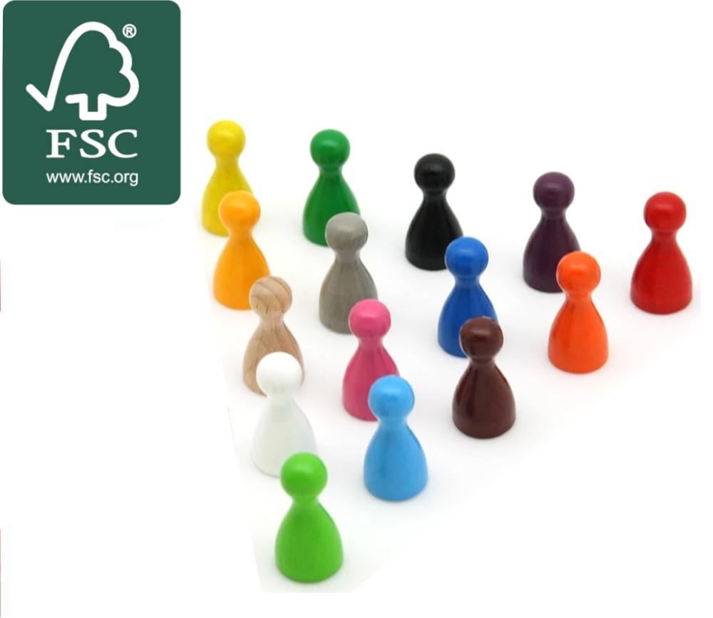 Pion coloré en bois certifié FSC small 12 x 24 mm à l'unité