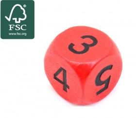 Dé 3 3 4 4 5 5 en bois certifié FSC de 16 mm rouge