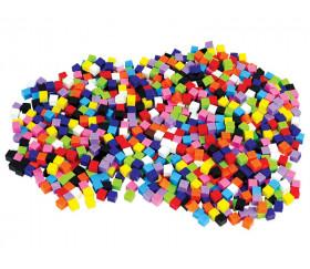 1000 Cubes plastiques 1 x 1 cm multicolores - 10 couleurs - 10 mm