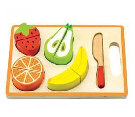 Puzzle en bois fruits sur planche à découper 9 pièces  à encastrer