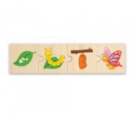 6 Puzzles en bois 4 pièces cycle de vie d'un papillon