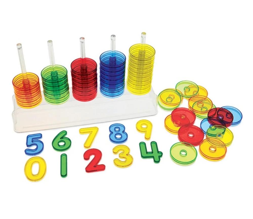Abaque de tri - Socle 5 tiges + 50 jetons translucides colorés + 10 chiffres