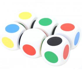Grand dé en bois 6 points couleurs vendu à l'unité