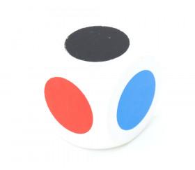 Dé 6 points couleurs en bois 3 cm