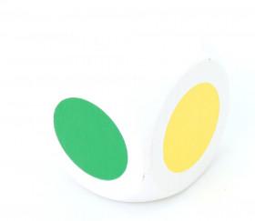 Dé 6 points couleurs RVJB Noir et blanc 3 cm en bois