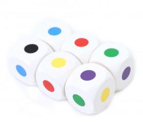 Dé en bois 2.5 cm points couleurs : bleu, vert, Jaune, rouge, violet, noir