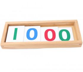 4 Cartes numérotées colorées 1, 10, 100 et 1000