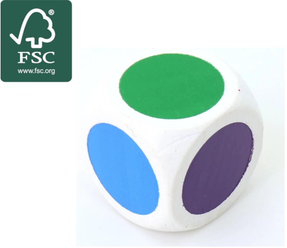 Dé bois certifié FSC 6 points couleurs 20 mm rouge, vert, jaune, bleu, violet, orange