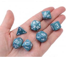 7 dés Speckled Sea effet granit bleu/vert chiffres blancs