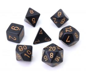 7 dés multi-faces noirs opaques avec chiffres gravés dorés