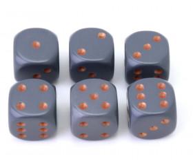 Dé à jouer D6 16 mm opaque gris foncé points cuivrés Chessex