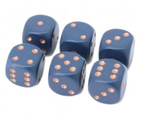 Dé à jouer bleu/gris opaque points cuivrés 16 mm