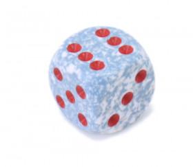 Dé effet granit points 1 à 6 rouges tailele standard