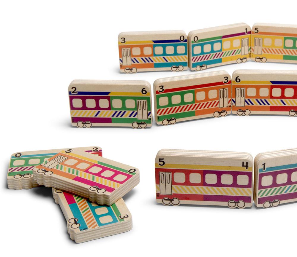 Dominos TRAINS en bois géant jeu
