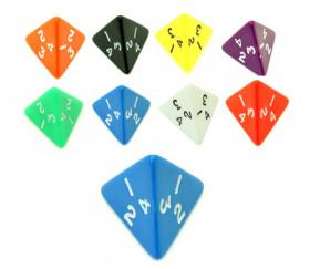 Dé 4 faces pyramide 1 à 4 opaque ( couleur mise au hasard)