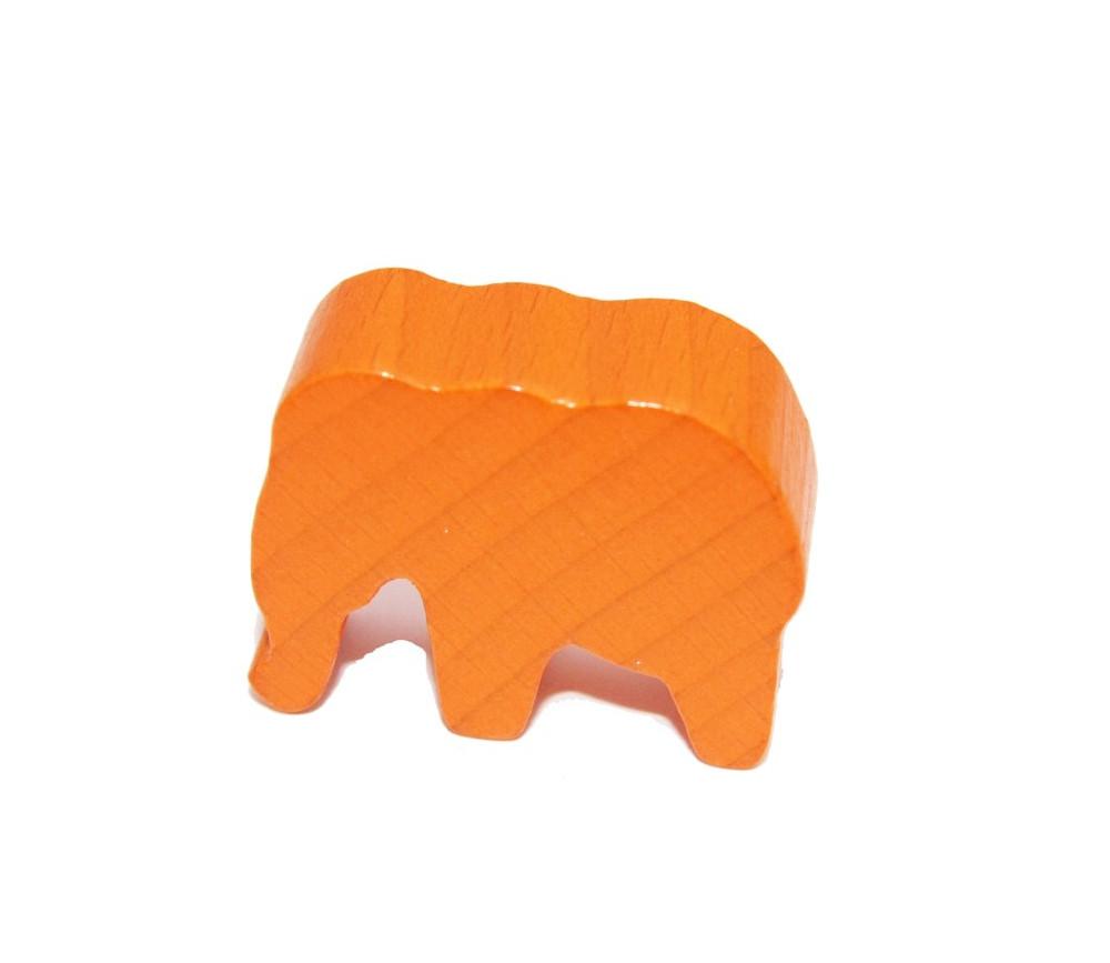 Pion éléphant orange en bois