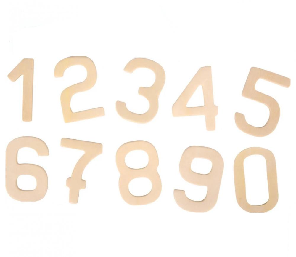 10 chiffres 0 à 9 hauteur 6 cm en bois