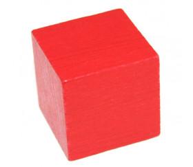Cube en bois 3 cm rouge pour jeu 30 x 30 x 30 mm