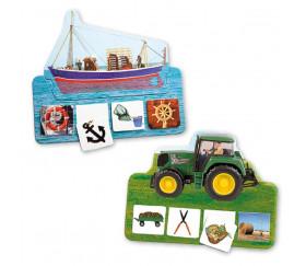 Jeu Les véhicules de travail - 6 puzzles + cartes mémo