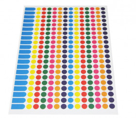 294 pastilles rondes autocollantes 8 mm en 7 couleurs