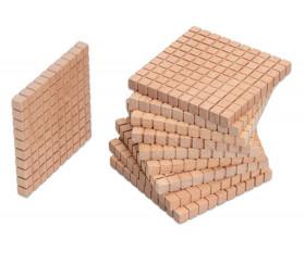 10 plaques 10 x 10 x 1 cm - Barres centaines Base 10 bois naturel