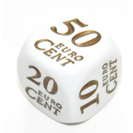 Dé avec cent euros de 1 à 50 cent