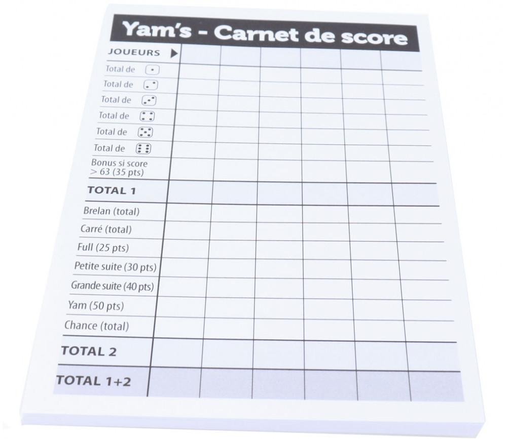 Bloc score pour jeux dés yam s marquage points