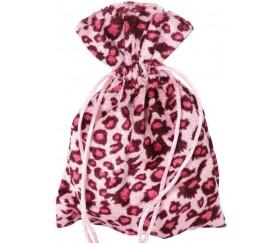 Sac velours effet léopard 17 x 12 cm rose