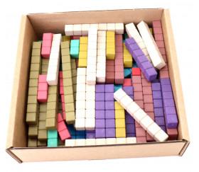 100 réglettes bois 10 couleurs Montessori 1 à 10 cm avec section unité