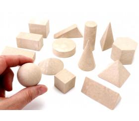 14 formes géométriques bois naturel - cube base 3 cm