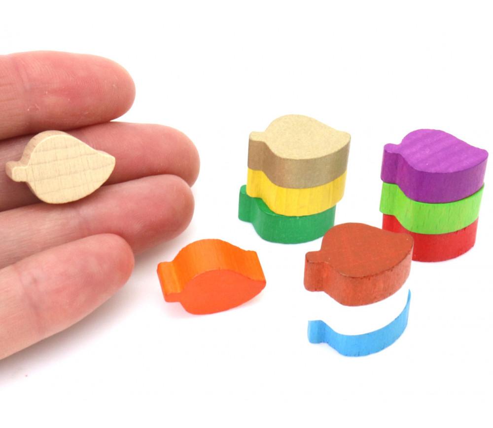Pion mini Feuille en bois coloré 20 x 14 x 8 mm pour jeux