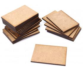 20 tuiles rectangles 6 x 4 cm en bois MDF brut pour jeux