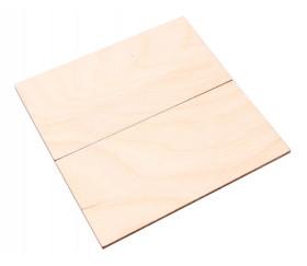 2 tuiles rectangles 10 x 5 cm en bois CP brut