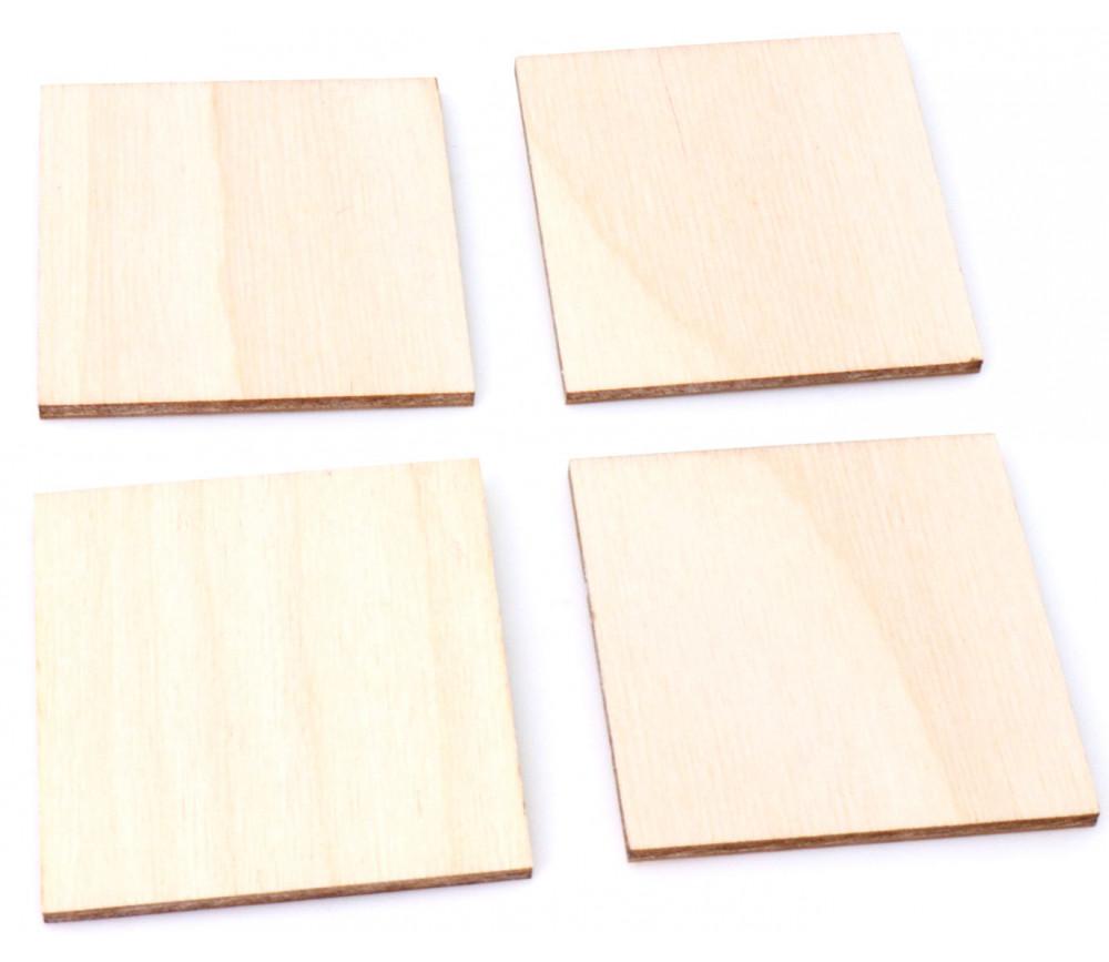 4 tuiles carrés 5 x 5 cm en bois CP brut