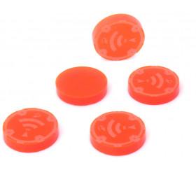 5 jetons ONDES rayonnement orange 1.5 cm pour jeu