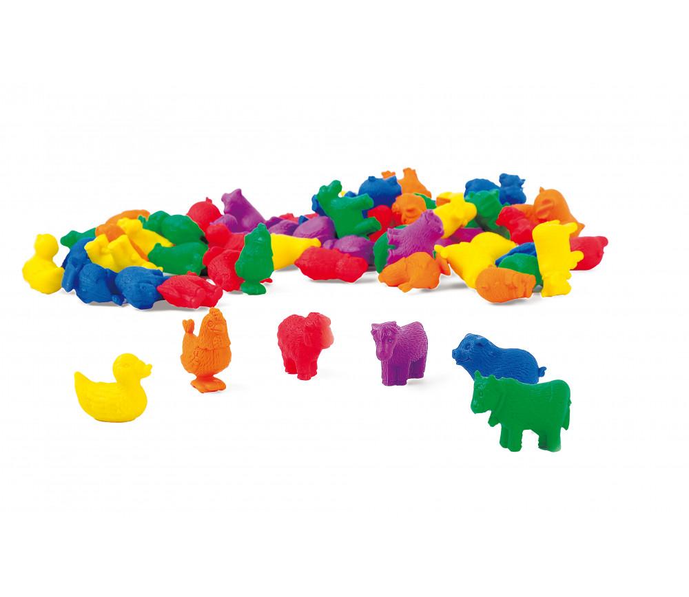 Boite 72 animaux de la ferme 3 cm- 6 couleurs