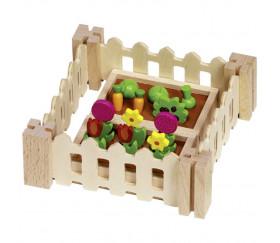 Mon petit jardin en bois avec légumes, fleurs et accessoires
