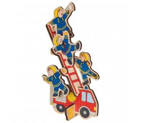 Puzzle et empilement en bois Les pompiers 8 pièces