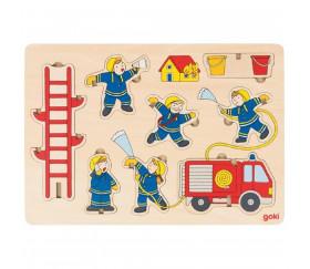 Puzzle en bois Les pompiers 8 pièces à empiler et à encastrer