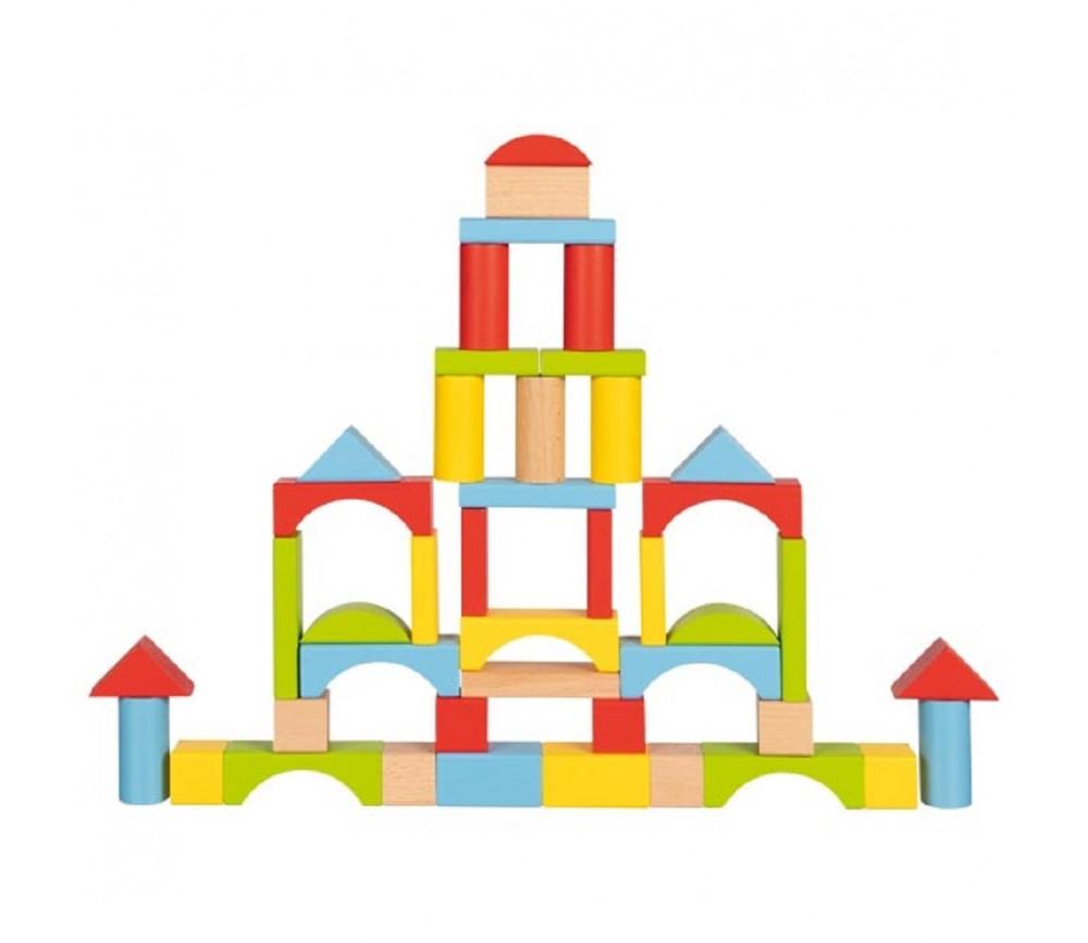 76 blocs de construction en bois coloré pour jeux