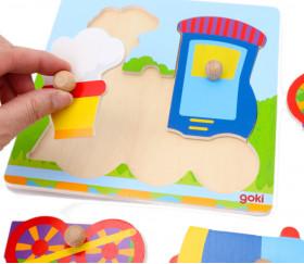 Puzzle en bois locomotive 5 pièces avec boutons